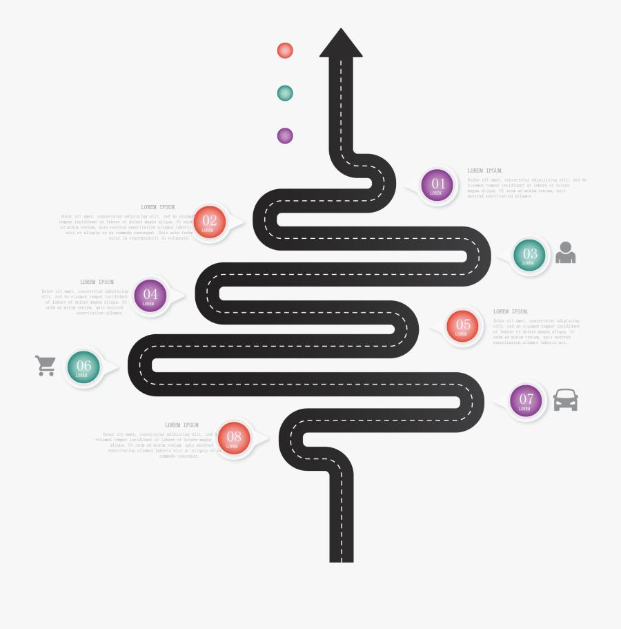 Road Clipart Illustrator - Infographic Road Map Vector, Transparent Clipart