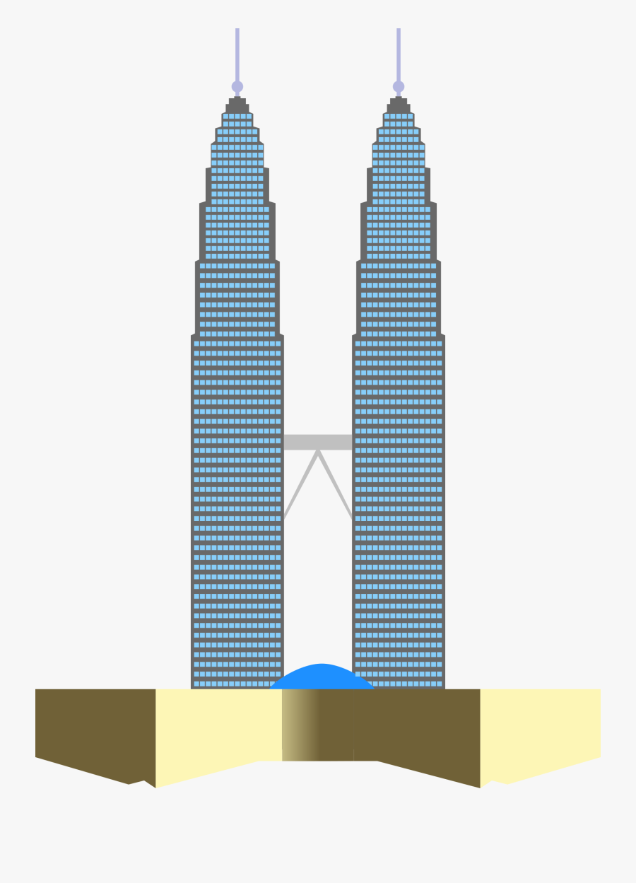Twin Towers Clipart - Malaysia Twin Tower Cartoon, Transparent Clipart