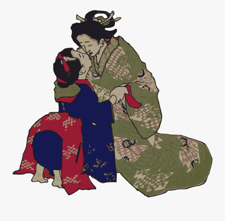 Geisha Kissing, Transparent Clipart