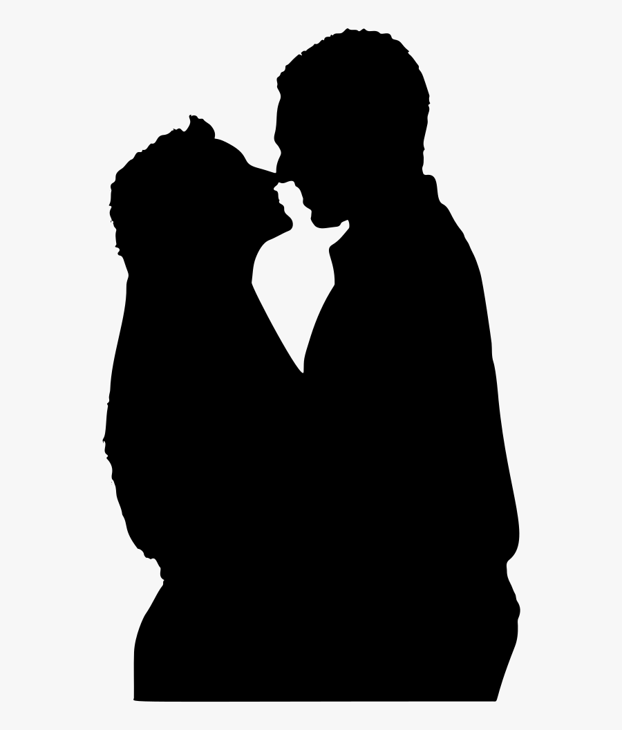 Close Couple Silhouette - Hugging And Kissing Romantic Couple Silhouette, Transparent Clipart
