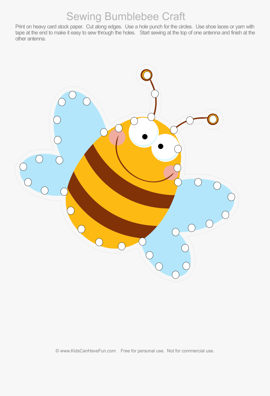 Insects Clipart Antennae - Bee Lacing Card, Transparent Clipart