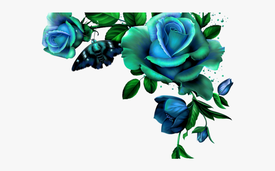 Blue Flower Corner Png, Transparent Clipart