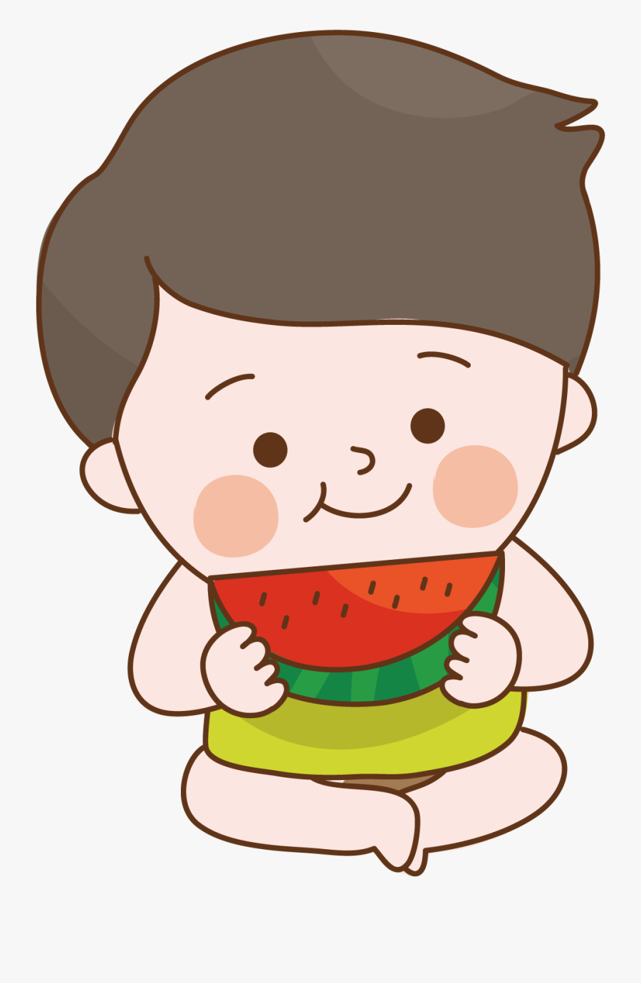 Child Food Sitting To Eat Watermelon - Eating Watermelon Boy Clipart, Transparent Clipart