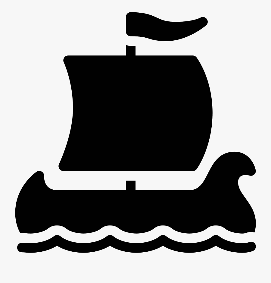 Viking Ship Filled Icon - Ship, Transparent Clipart