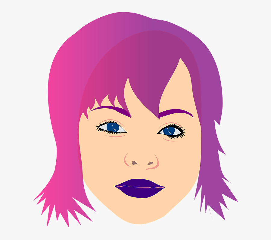 Head Eyes Woman Girl Face Lips Hair Teenager - Woman With Purple Hair Clipart, Transparent Clipart