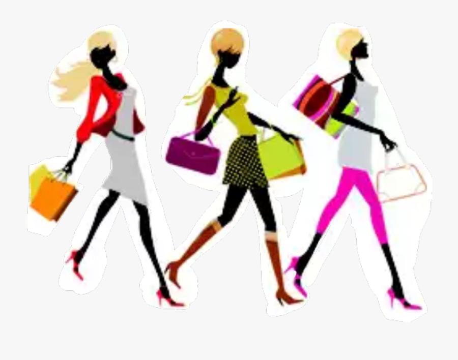 #women #lady #shopping #fashion #friends - Fashion Parade Clip Art, Transparent Clipart