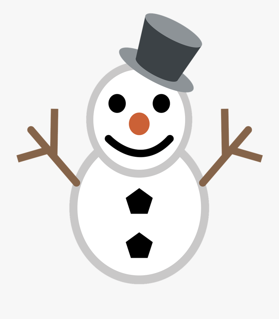 Snowman Christmas Winter Free Picture - Snowman Black And White Emoji, Transparent Clipart