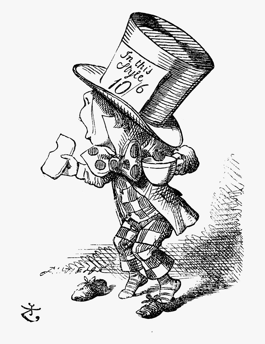 Hats Drawing Alice In Wonderland - Mad Hatter Alice In Wonderland Book, Transparent Clipart