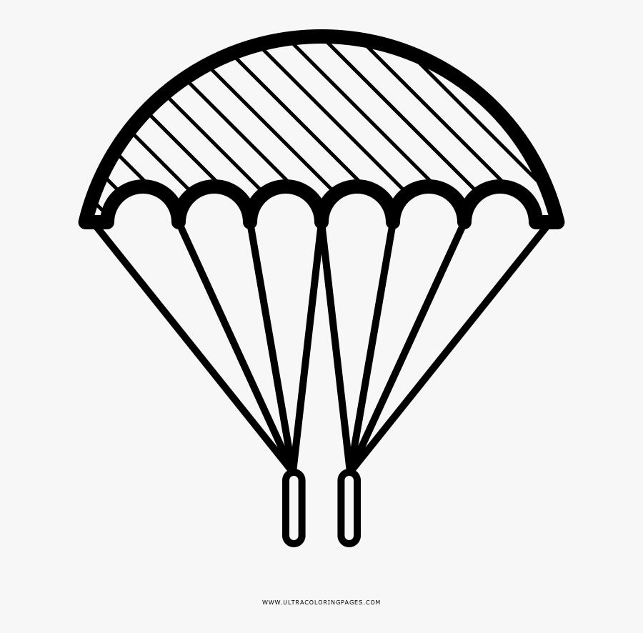 Parachute Coloring Page - Parachute Drawing, Transparent Clipart