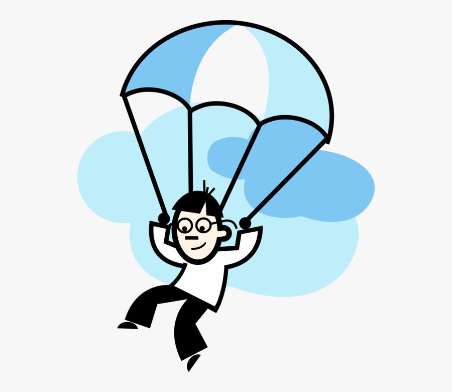 Vector Illustration Of Parachutist Parachuting To Earth - Paragliding Clip Art, Transparent Clipart