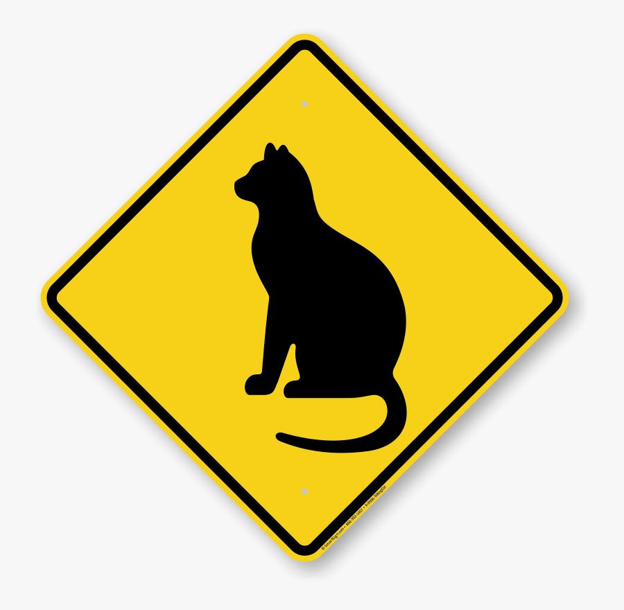 Sitting Cat Symbol Sign - Pedestrian Crossing Sign Clip Art, Transparent Clipart