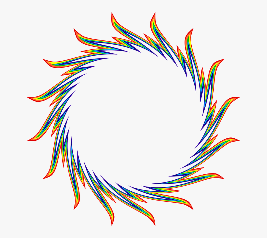 Ring Flames Fire Heat Colorful Rainbow Abstract - Logo Circle Fire Png, Transparent Clipart
