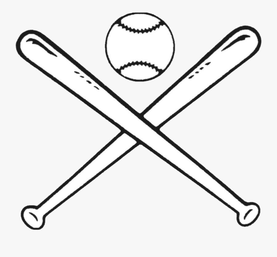 Transparent Softball Clipart Black And White - Baseball Bat And Ball Drawing, Transparent Clipart