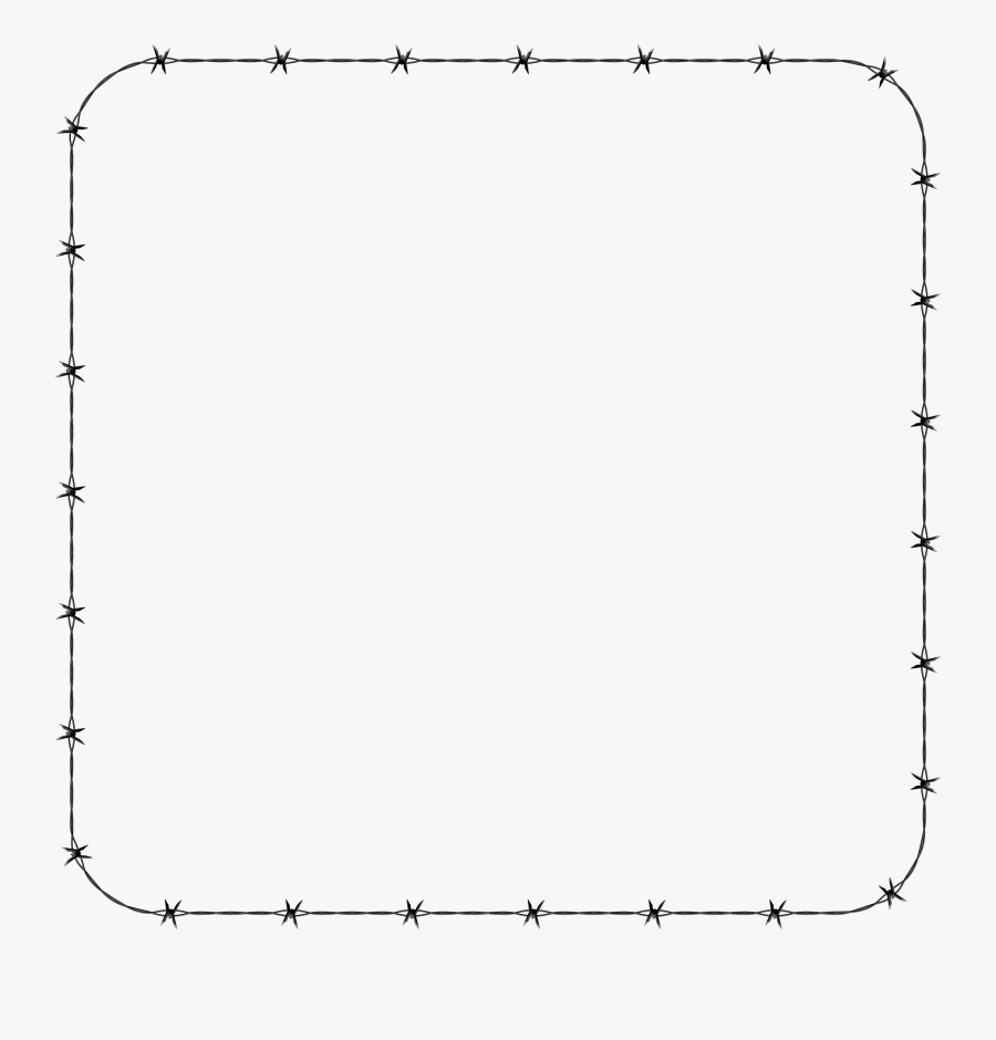 Barbed Wire Rounded Square Frame Border Icons Png - Line Art, Transparent Clipart