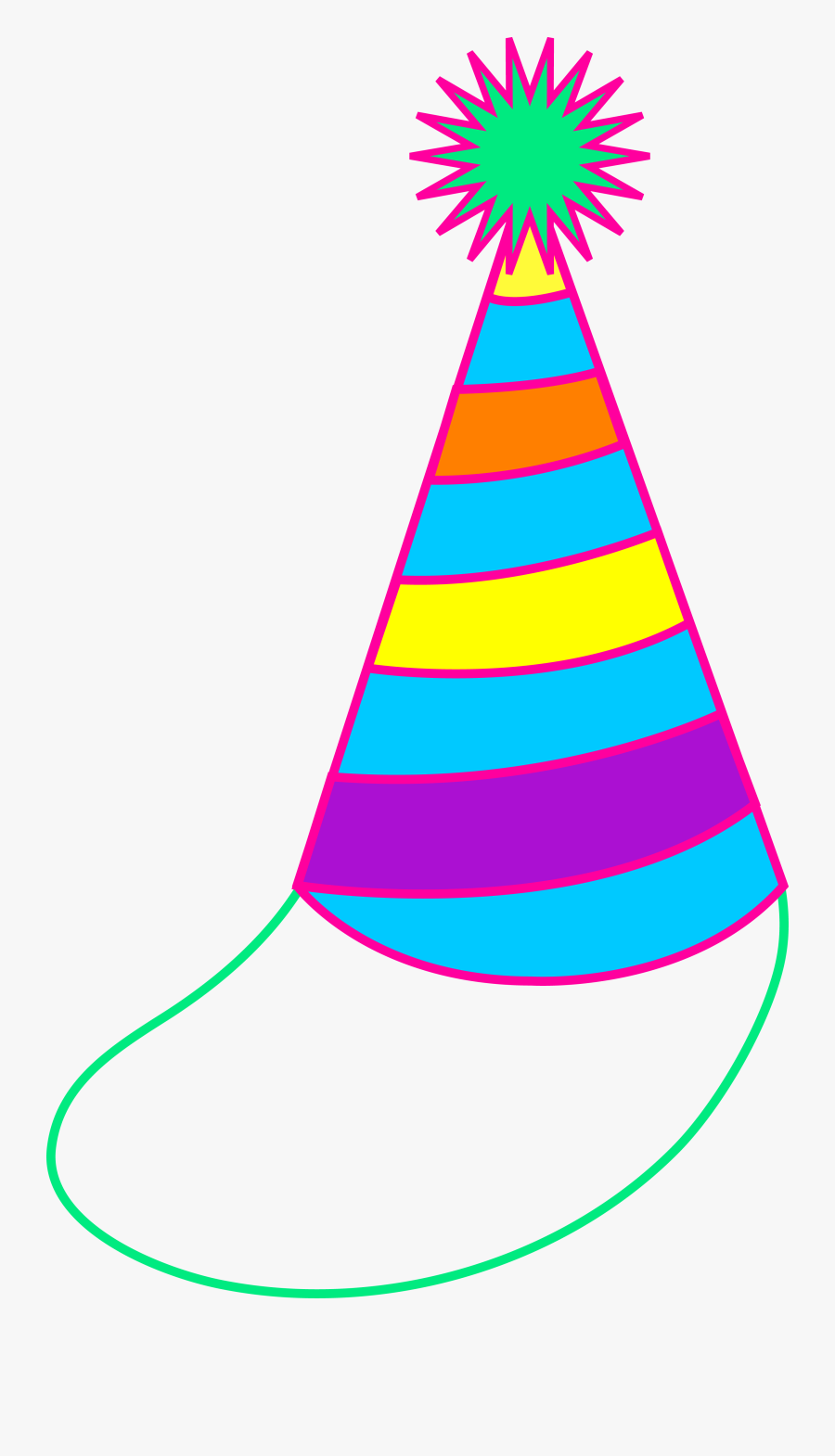 Colorful Party Hat - Birthday Party Hat Cartoon, Transparent Clipart