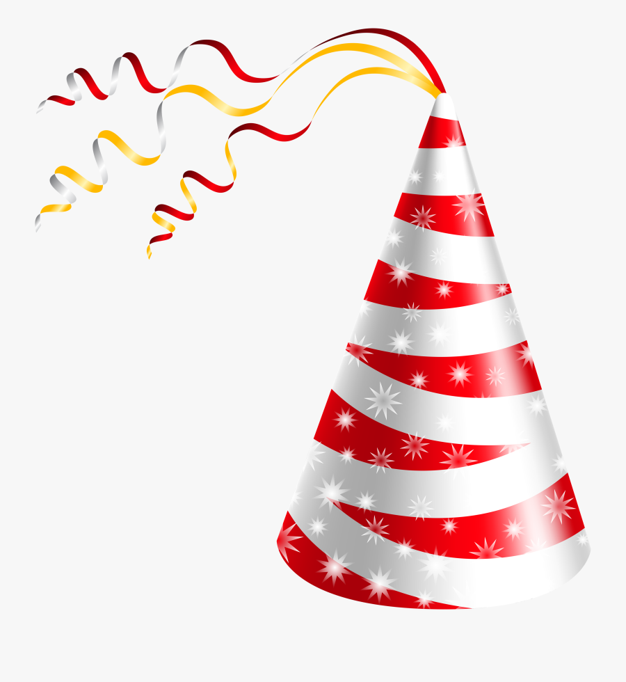Birthday Hat White And Red Party Hat Clipart Image - Transparent Background Birthday Hat, Transparent Clipart