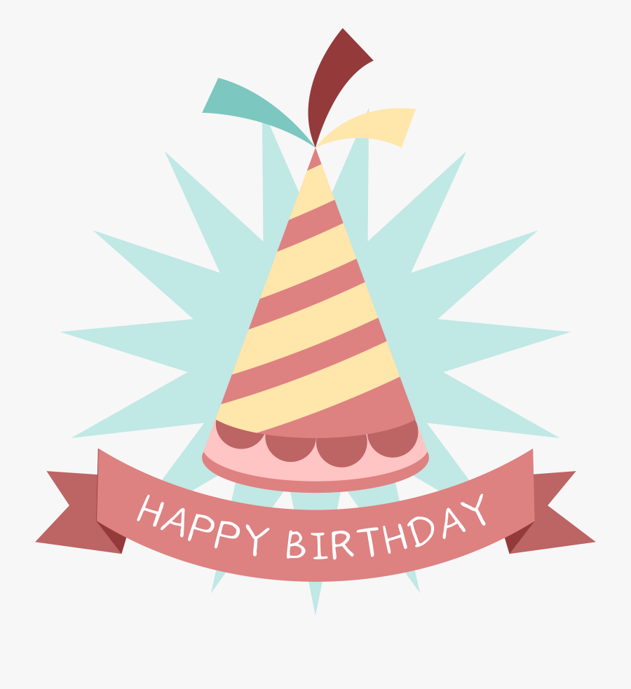 Clip Art Cartoon Party Hat - Happy Birthday Stickers Hat, Transparent Clipart