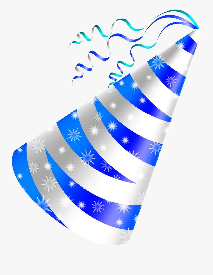 Birthday Hat White And Blue Party Hat Clipart Image - Blue Birthday Hat Png, Transparent Clipart