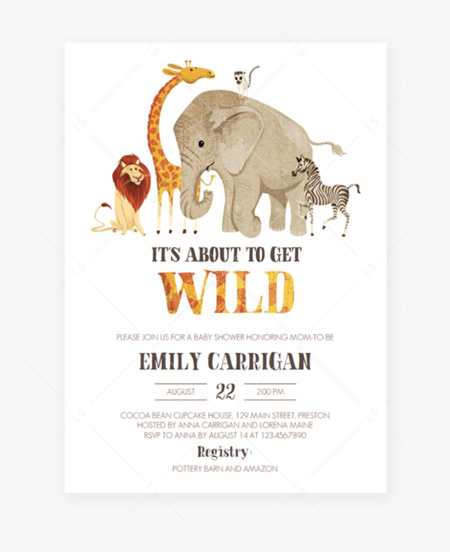 Safari Baby Shower Invitation Template Download By - Animal Baby Shower Invitation, Transparent Clipart