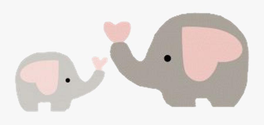 Elephants Baby Cute Heart Scrapbooking Scraps Animals - Baby Shower Girl Elephant Clipart, Transparent Clipart