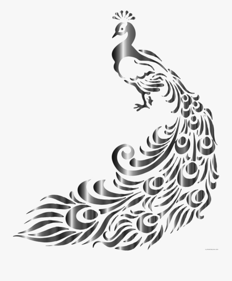 Picture Free Library Free Peacock Clipart - Peacock Design Black And White, Transparent Clipart