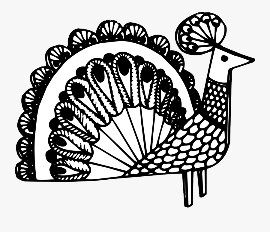 Fancy, Bird, Decorative, Peacock, Feathers, Decoration - Black Line Peacock Art Design, Transparent Clipart