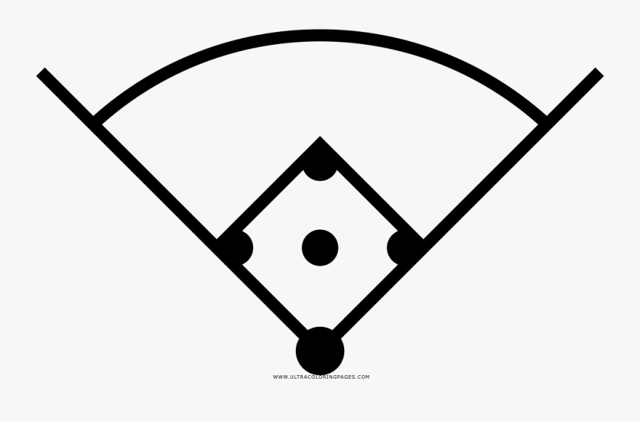 Baseball Field Coloring Page Clipart , Png Download - Black And White Baseball Field, Transparent Clipart