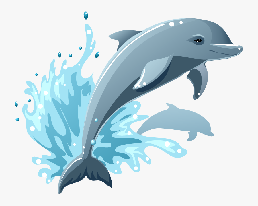 Clip Art Dolphin Vector Illustration Lazy - Cartoon Dolphin Jumping Out Of Water, Transparent Clipart