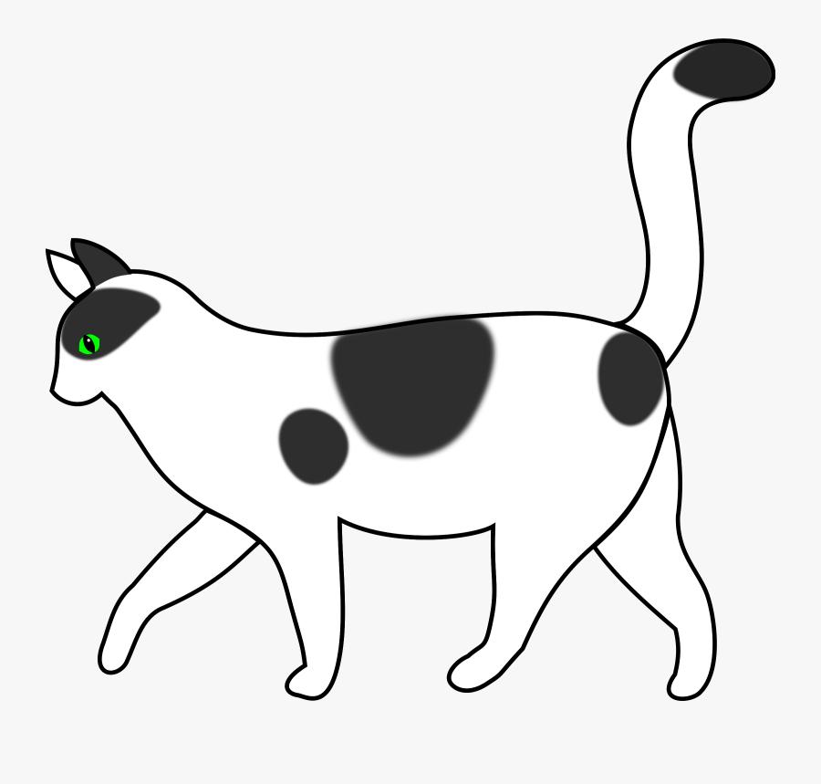 Public Domain Clipart Cat - Cat Walking Clipart Black And White, Transparent Clipart