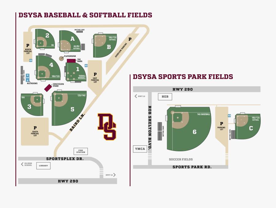 Dsysa Baseball Field Map, Transparent Clipart