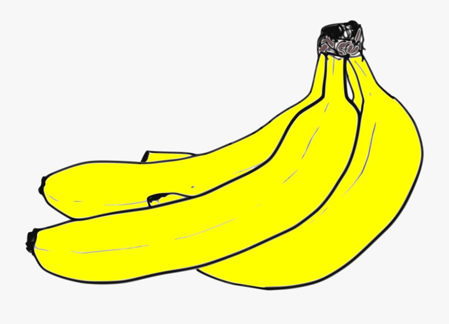 Yellow Banana Cluster Clip Arts - Saba Banana, Transparent Clipart