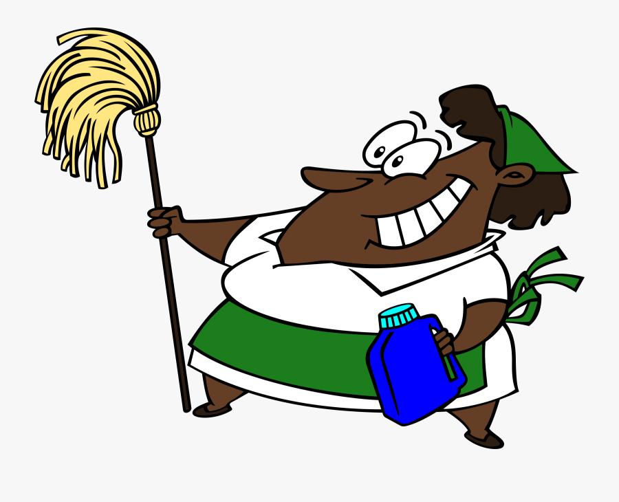 Human Behavior,recreation,area - Black Cartoon Cleaning Lady, Transparent Clipart