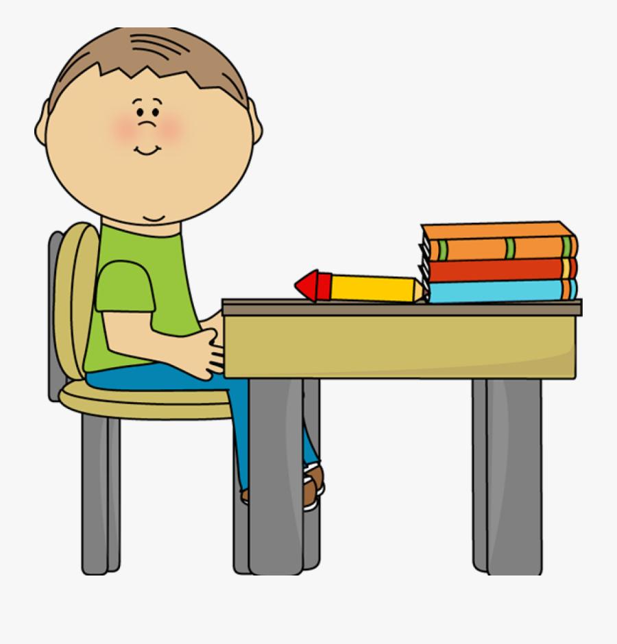 Clean Student Desk Clipart - Boy Sitting At Desk Clipart, Transparent Clipart