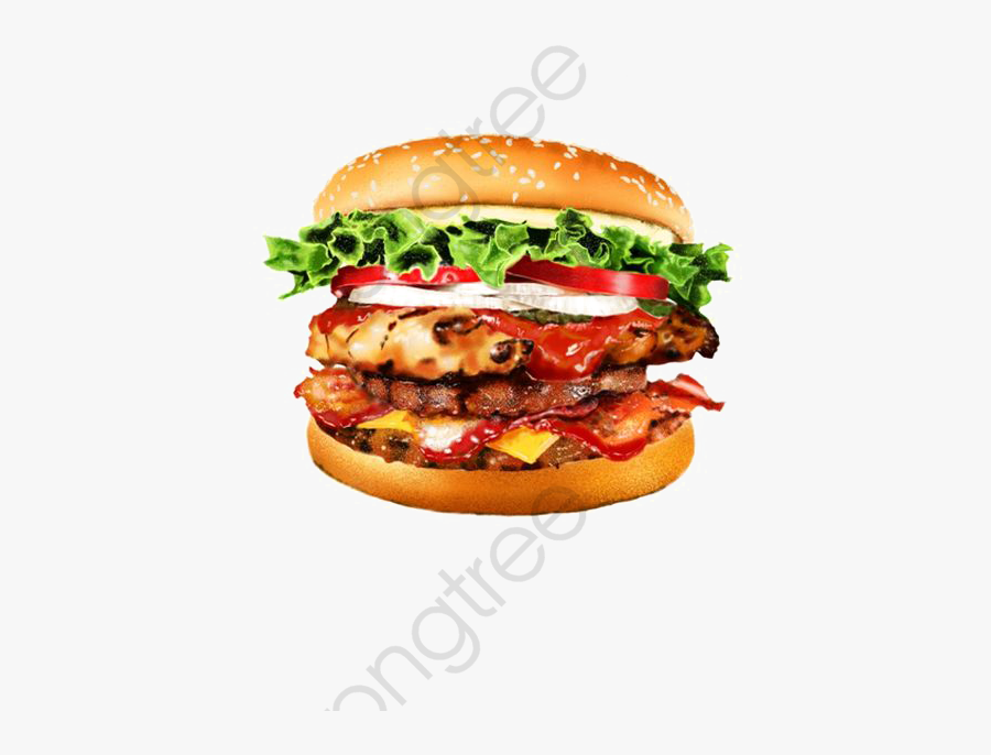 Burger Clipart Fast Food - Drawing Fastfood Pencil Color, Transparent Clipart