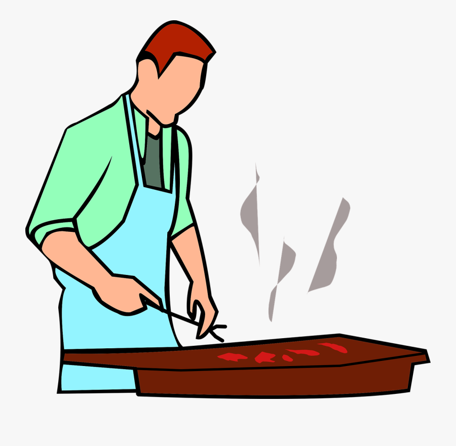 Transparent Bbq Grill Clipart Black And White - Man Grilling Clipart Transparent, Transparent Clipart
