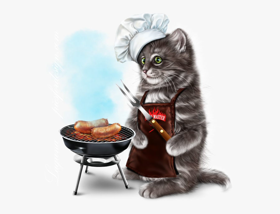 Barbecue Kitty 15 Barbecue, Tube, Clip Art, Cats, Floral, - Cat Barbecue Clipart, Transparent Clipart