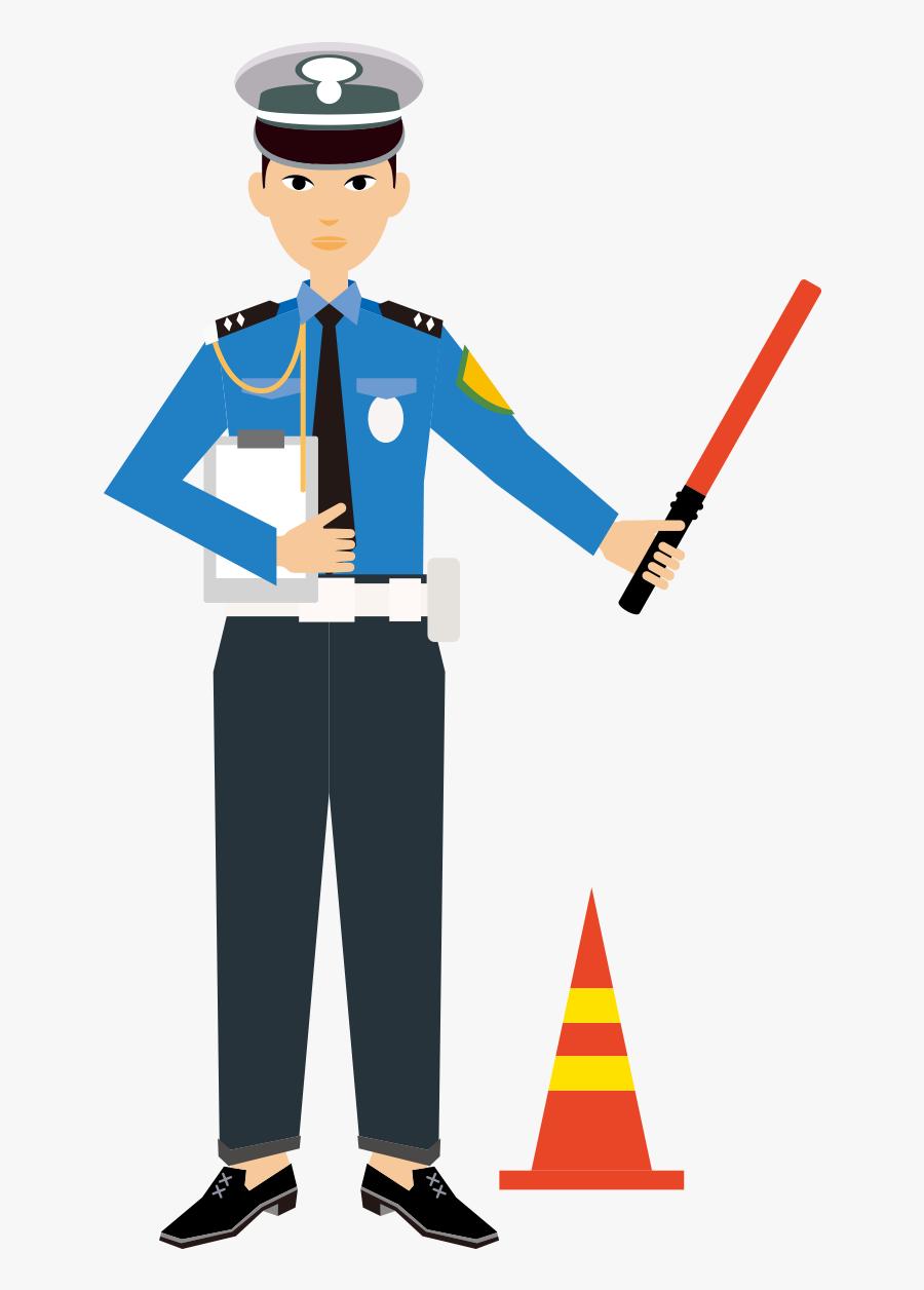 Police Officer Cartoon Painted - Dibujo Policias De Transito, Transparent Clipart