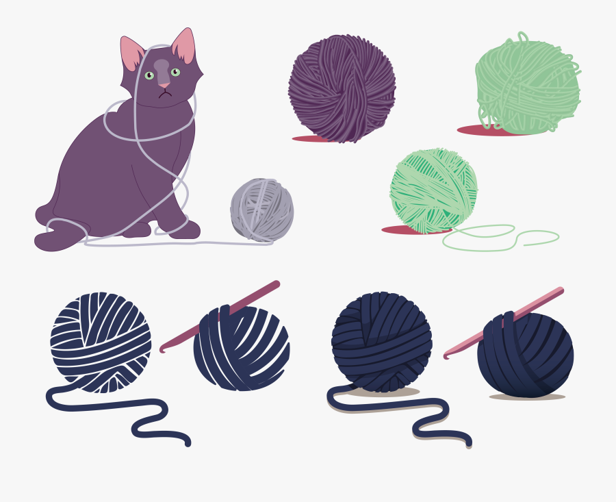 Kitty Cat With Yarn Clipart - Ball Of Yarn Illustration, Transparent Clipart