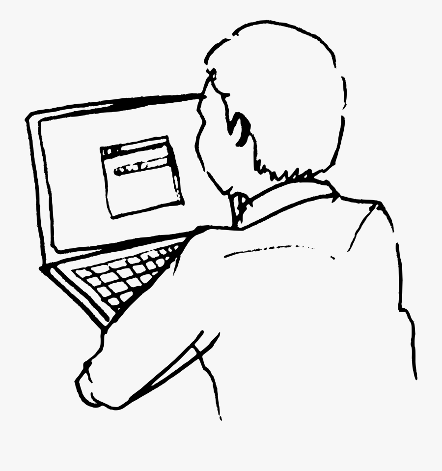 Line Drawing Of Man At Computer Clipart - Person On Computer Drawing, Transparent Clipart