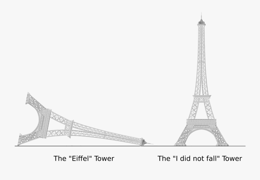 Eiffel Tower And I Did Not Fall Tower - Eiffel Tower Drawing Falling, Transparent Clipart