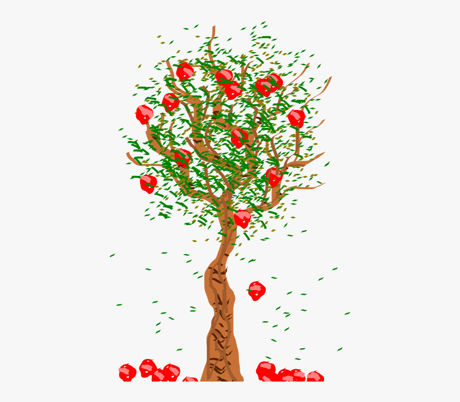 Apple Tree - Falling Fruit From A Tree, Transparent Clipart