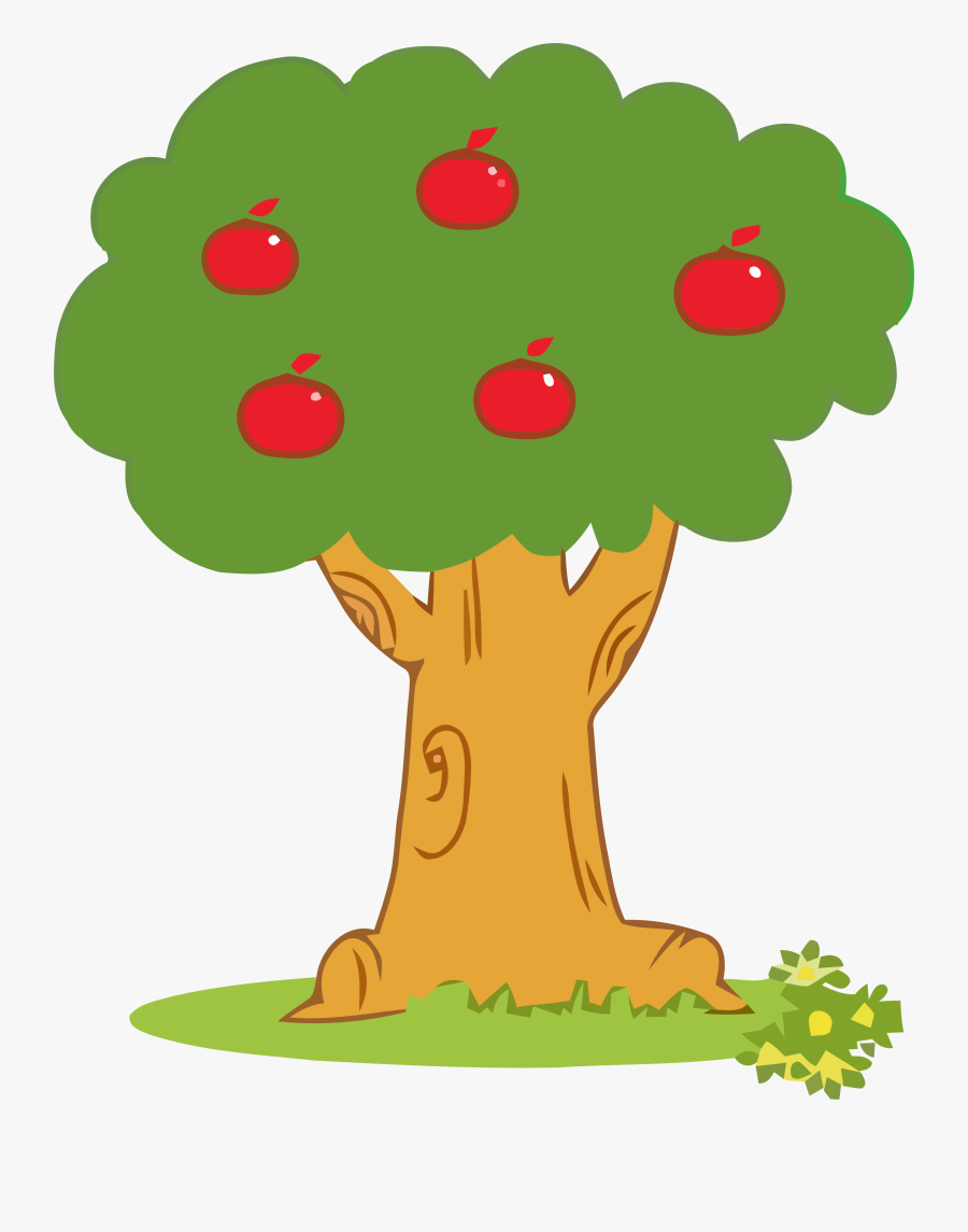 Apple Tree Clipart Five Apple Png - Tree With Apples Cartoon, Transparent Clipart