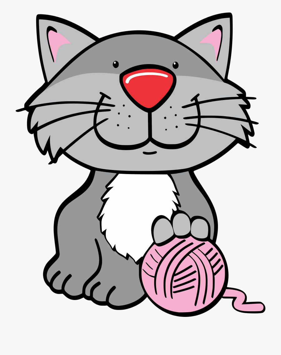 Kittens Clipart Wool Ball - Clipart Of Cat Playing, Transparent Clipart