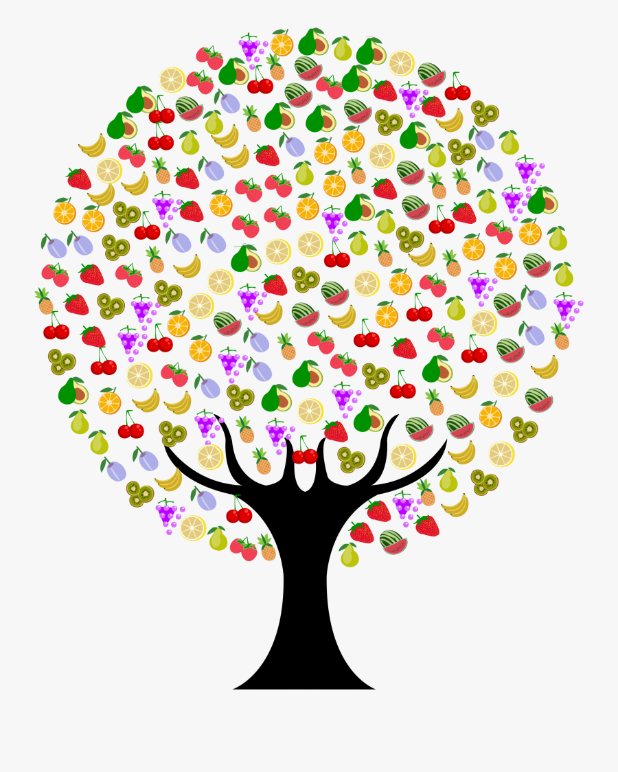 Fruit Tree Icons Png - Tree With Fruits Clipart Png, Transparent Clipart