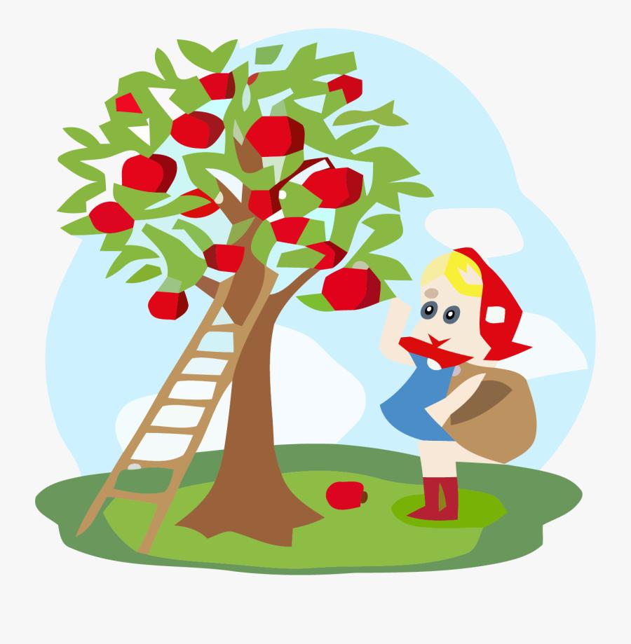 Illustration Of Little Girl With Basket Standing Near - Children Under The Apple Tree Cartoon, Transparent Clipart
