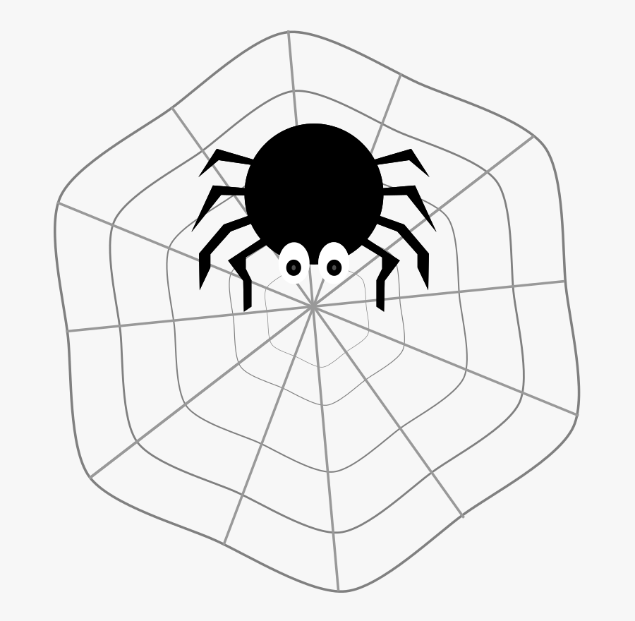 Spider On Web - Clip Art Spider With Webs, Transparent Clipart