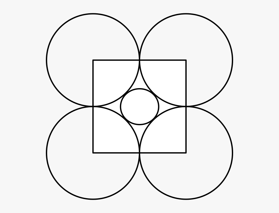 At Each Corner Of The Square We Place A Circle Of Radius - Circle, Transparent Clipart