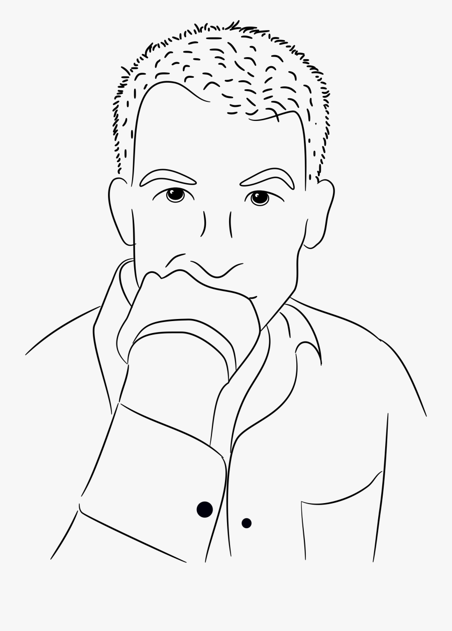 Drawing For Thinking Person - Drawing Of A Person Thinking, Transparent Clipart