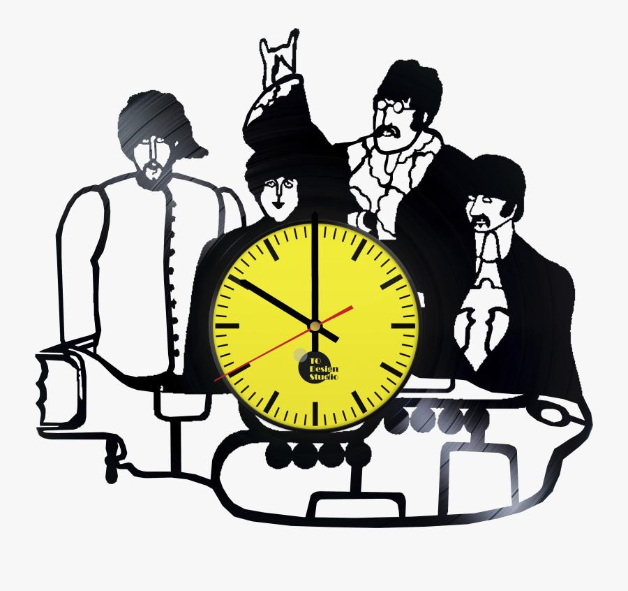 The Beatles Handmade Vinyl Record Wall Clock Fan Gift - Beatles Yellow Submarine, Transparent Clipart