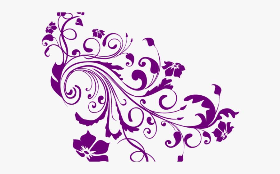 Transparent Swirls Clipart - Purple Background Wedding Invitation, Transparent Clipart